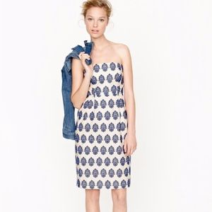 J. Crew Blue Filigree-Embroidered Strapless Dress